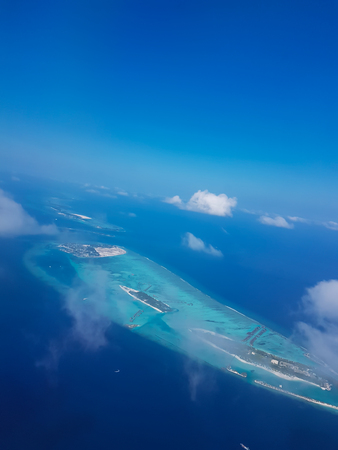 Approaching the Maldives with a view of the horizon Stock Photo