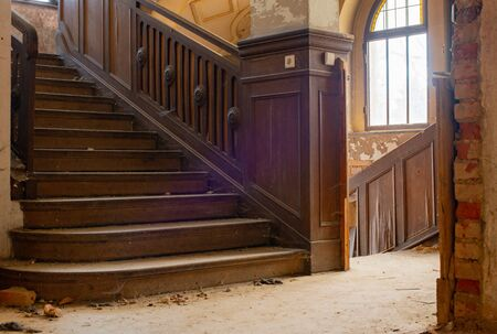 Lost Place old upper chamber mansion house before disintegration