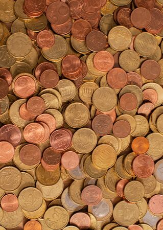 Various Euro coins Currency, Finance photographed as background