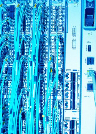 Network switch and network fiber optic fiber in a data center Imagens