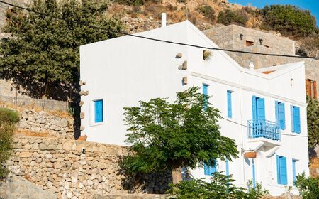 Small houses and their small streets on the volcanic island of Nisyros on the Aegean Sea Greece Stok Fotoğraf