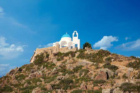 Blue white church on the volcanic island of Nisyros on the Aegean Sea Greece