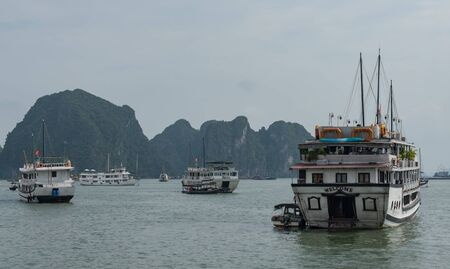 Tour boat for vacationers in Halong Bay in Hanoi, Vietnam