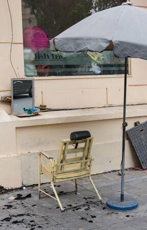 Barber shop by the roadside in Hanoi Hue, Vietnam Reklamní fotografie