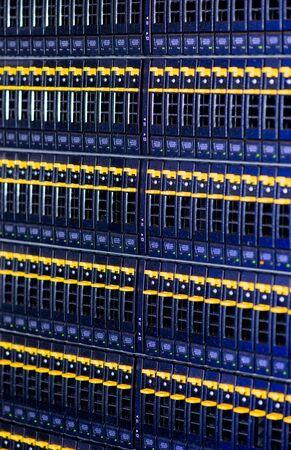 Backup Disks for a Blade Enclosure in the Data Center - Bladecenter Network in a Server Rack Archivio Fotografico