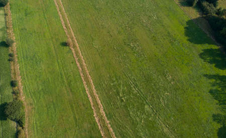 Drones Aerial view of various agricultural fields in Schleswig Holstein Archivio Fotografico