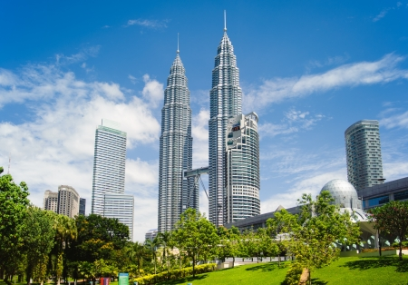 Modern cityscape with Petronas towers in Kuala Lumpur
