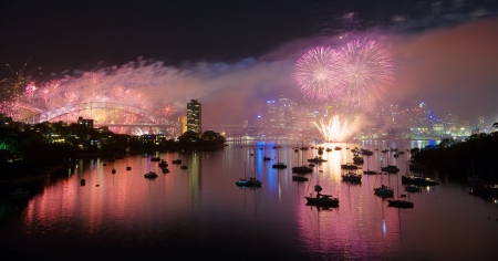 SYDNEY, AUSTRALIA - JANUARY 01  A kaleidoscope of fireworks explode over the Sydney Opera House and the Sydney Harbour Bridge on January 1, 2009