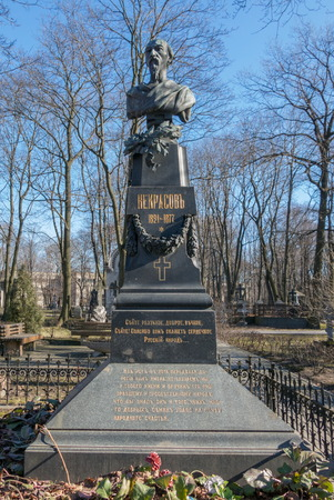 the publisher: Grave of Nikolay Alexeyevich Nekrasovwas famous Russian poet and publisher,Russia,St.Petersburg