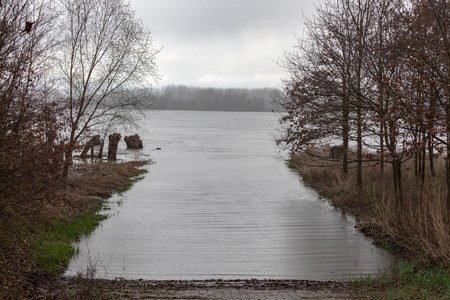 Flooding on the Rhine at Frankenthal in Germany.