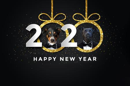 Bonne année 2020 avec deux chiens