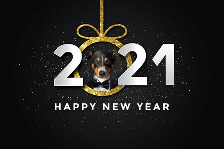 Happy new year 2021 with a Dog, Appenzeller Sennenhund