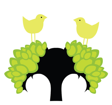 two yellow birds on the tree Stock Vector - 6667273