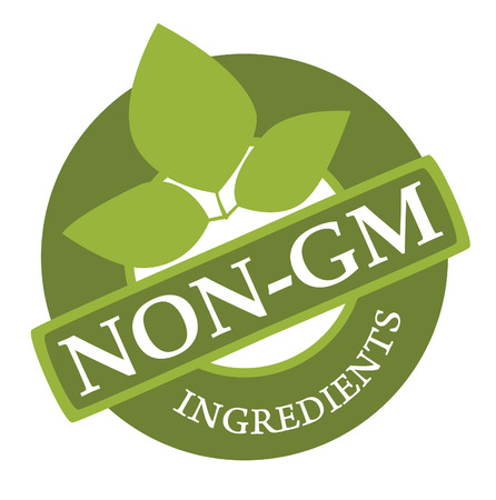 gm: Label on the products, designating absence in a product of genetically modified components   Illustration
