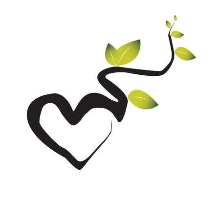 Branches of a green plant intertwine in the form of heart. The illustration symbolises love to the nature
