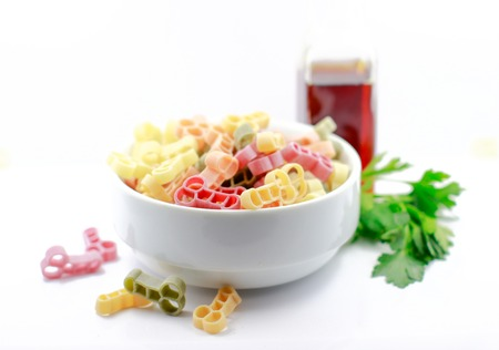 Italian pasta penis shape on the white background