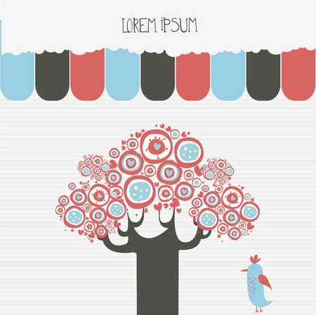Abstract tree and bird design with banners Illustration