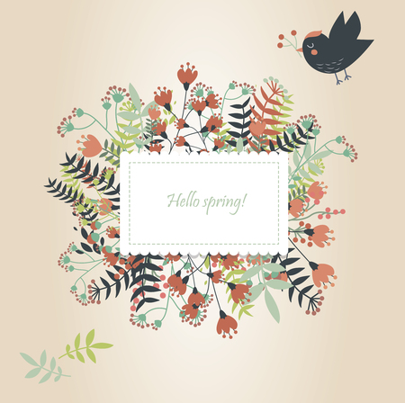 Flowered background with cute bird flying