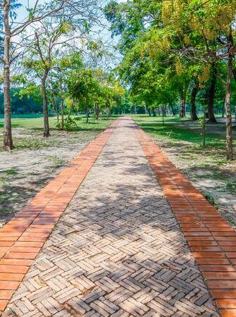 An old brick path located in Ayutthaya, Thailand north of Bangkok. Фото со стока