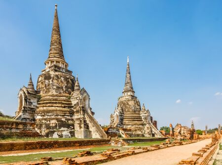 Wat Phra Si Sanphet, old ruins of a temple located in Ayutthaya, Thailand. Фото со стока