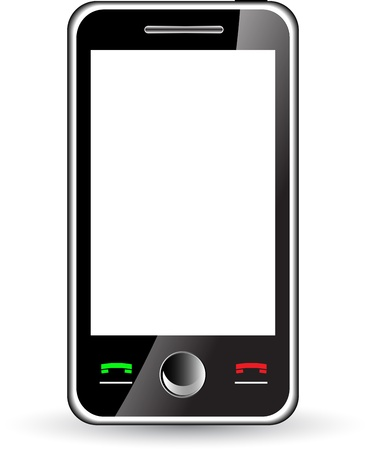 tactile: Mobile phone with white screen isolated on white
