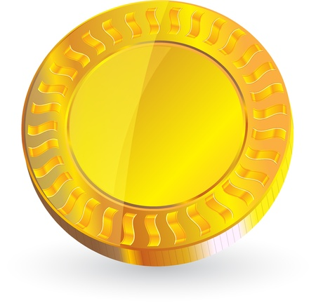 Gold coin: đồng tiền vàng bị cô lập về định dạng vector nền trắng