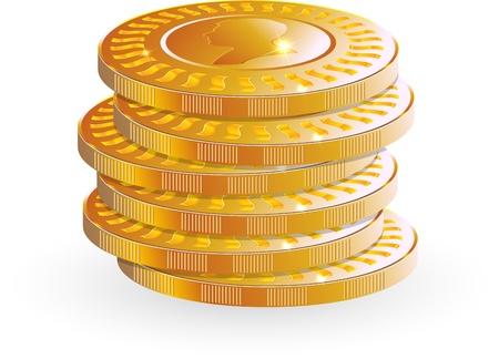 Gold coin: tiền xu vàng vector chồng chất lên trên nền trắng