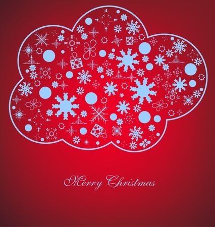 Christmas red background with light snow in cloud Vector