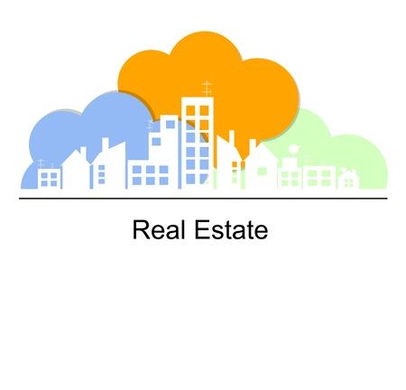apartment market: Concepto de bienes ra�ces con las nubes de color