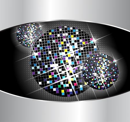 Vector disco balls on black background