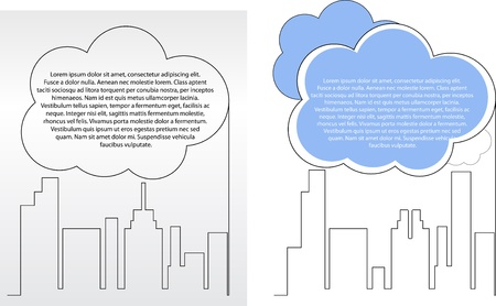 City building silhouettes with clouds for your text vector  Vector