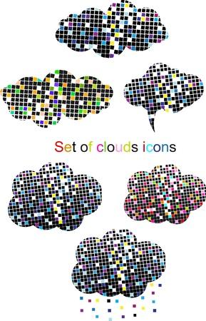 Set of pixel cloud vector Stock Vector - 11105897