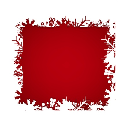 christmas deep red background with snow Stock Vector - 11216870