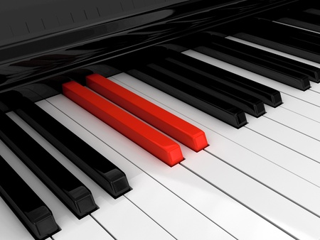 keyboard player: Piano red key Stock Photo
