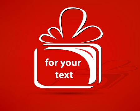 red gift box: gift vector for your text