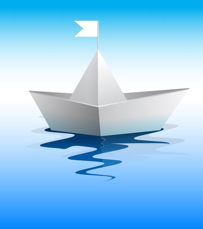 toy boat: Paper boat in blue water vector format