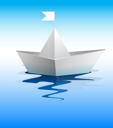 Paper boat in blue water vector format Vector
