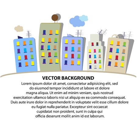 vector cartoon: City vector cartoon panorama Illustration