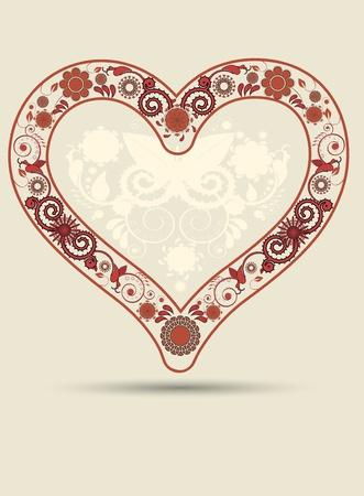 Vintage heart background Vector