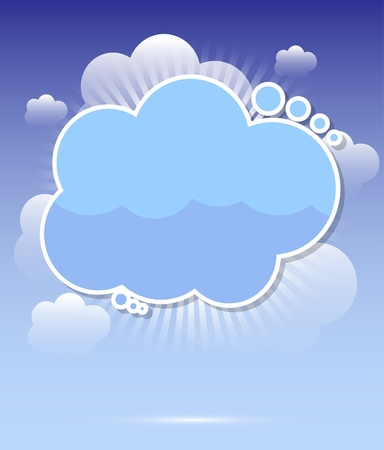 Cloud background with rays vector Vector
