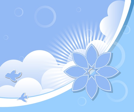 Cloud with rays and birds background Vector