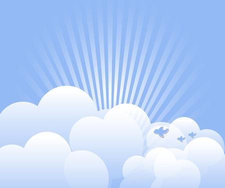 Cloud mit Strahlen und Vögel Hintergrund