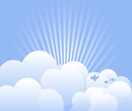 cloud computing services: Cloud with rays and birds background
