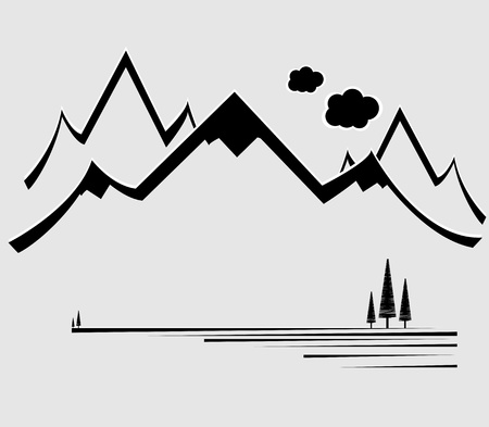 snow mountains: Mountain vector format