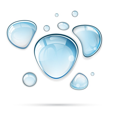 soap bubbles: Light blue water drops vector format Illustration