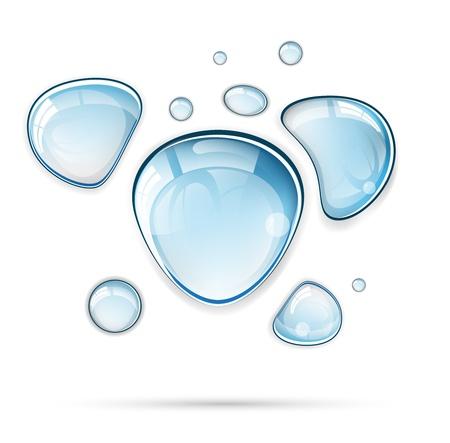 bulles de savon: Lumière de l'eau bleue laisse tomber format vectoriel Illustration