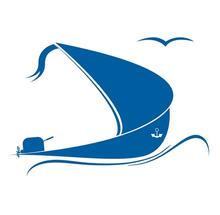Sailing ship in the ocean format Vector