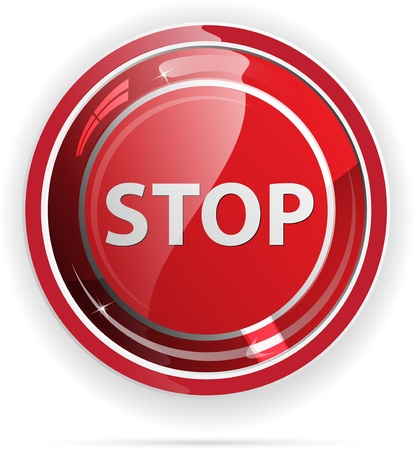 knop: Glossy stopteken knop voor webapplicaties. Stock Illustratie