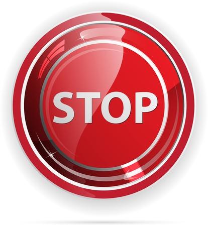 boton stop: Parada brillante bot�n con el signo de las aplicaciones web. Vectores