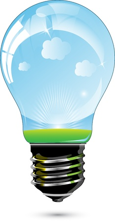 Light blue bulb. Illustration
